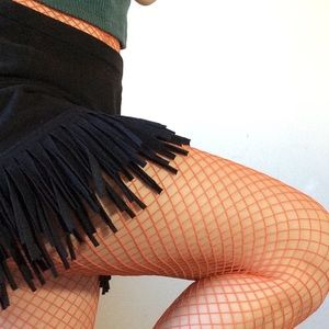 Orange Fishnet Stockings dancer chic!